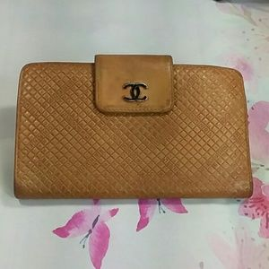 Authentic CHANEL Lamb Skin Black Brown Wallet